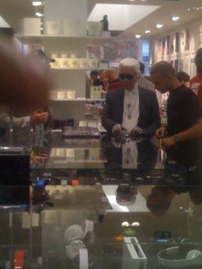 Spotted - Karl Lagerfeld at Colette. Us - just moments away from Lagerfeld